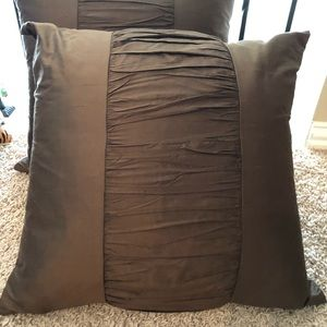 Horchow Chocolate Brown Silk Pillows